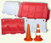ROAD BARRIERS, ROAD BUFFERS, TRAFFIC SIGNAL CONES